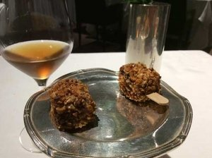 Two Foie Gras Ice Cream Bar with Traditional Balsamic Vinegar from Modena, Served on a chilled silver platter