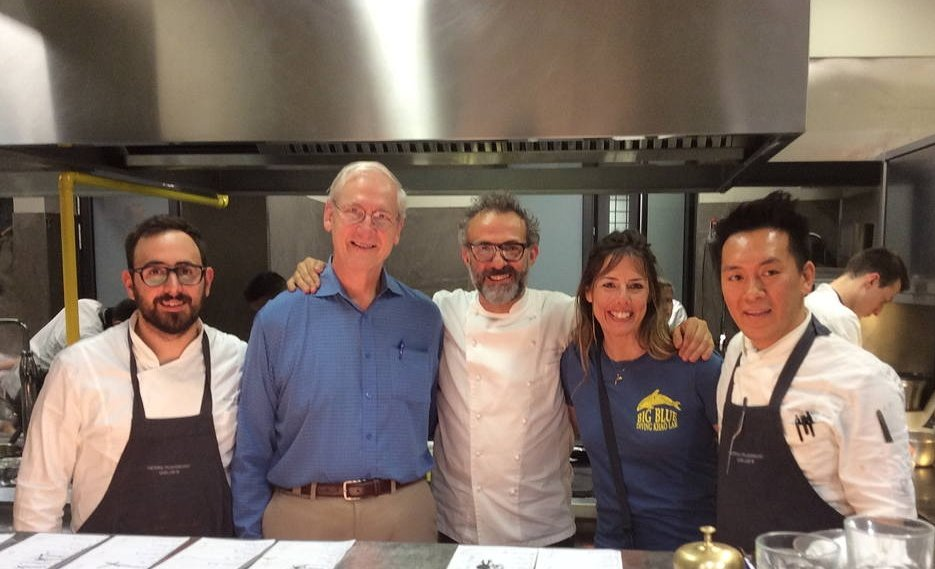 Massimo Bottura with Kent Anderson and Nicole Piehl in and two of his staff of his award winning restaurant, Osteria Francescana.