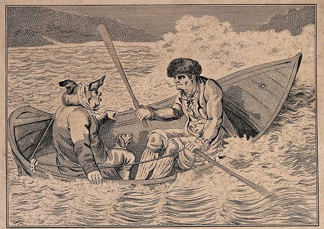 Two men in a boat on a stormy sea. 1803 etching. Courtesy Wellcome Library, London. Wellcome Images images@wellcome.ac.uk http://wellcomeimages.org
